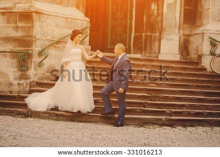 beautiful young couple in wedding sunny summer day - stock photo