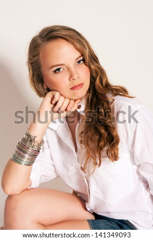 Beautiful young fashion girl teenager. - stock photo