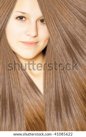 beautiful young female face with long beauty hair - stock photo