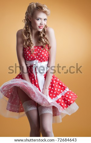 beautiful young girl in retro pin-up style - stock photo
