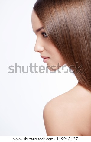 Beautiful young girl isolated - stock photo
