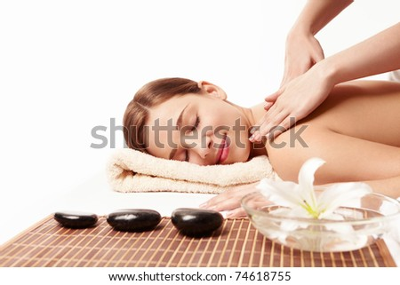 Beautiful young girl make massage - stock photo