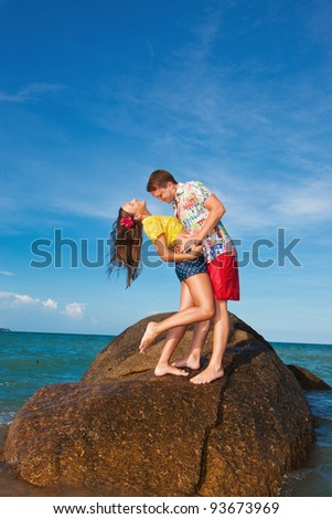 beautiful young girl on beach - stock photo