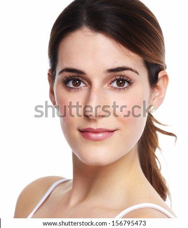 Beautiful young girl portrait close up. Isolated on white background. - stock photo