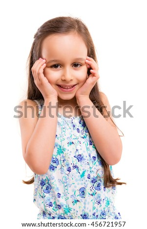 Beautiful young girl posing isolated over white - stock photo