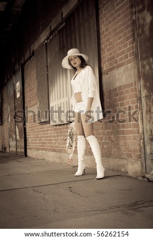 beautiful young girl. Retro styled photo - stock photo