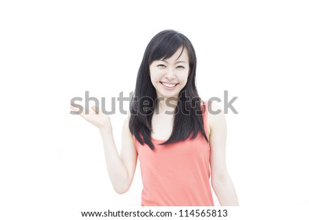 beautiful young girl showing, isolated on white background - stock photo