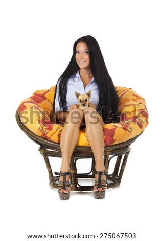 beautiful young girl with Chihuahua puppy are isolated on white background - stock photo