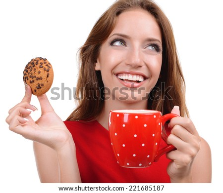 Beautiful young girl with cup of coffee isolated on white - stock photo