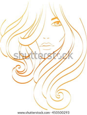 Beautiful young girl with thick long hair. Female icon. Raster version - stock photo