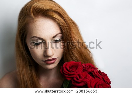 beautiful young girl, woman, lady, model. Bright, attractive, sexy, mysterious appearance. Redhead, effective, romantic. Festive image love, event date, gift, celebration. Expressive, stylish makeup   - stock photo