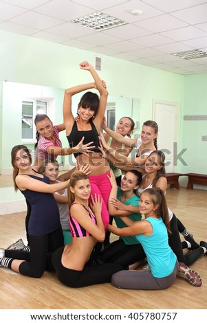 beautiful young girls engaged in fitness - stock photo
