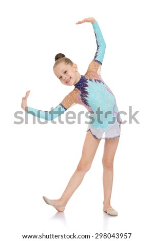 Beautiful young gymnast in a bright tracksuit sports shows exercises-Isolated on white background - stock photo
