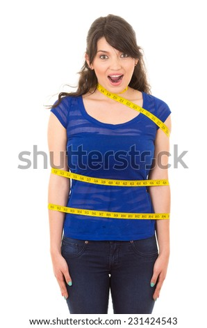 beautiful young happy girl with measuring tape around her body concept of dieting fitness weightloss isolated on white - stock photo