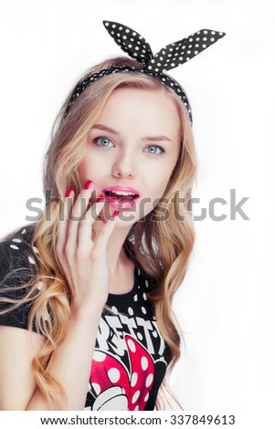 Beautiful young happy woman with long blonde hair, nude natural daily makeup, red nails posing in studio white background. Happy girl enjoy life, smile. - stock photo
