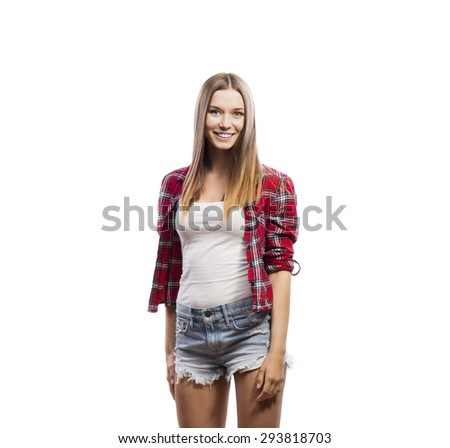 Beautiful young hipster girl. Studio shot on white background - stock photo