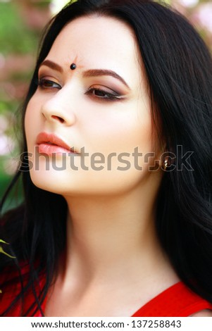 Beautiful young indian/asian woman with perfect make up in traditional clothing. gorgeous brunette traditionally dressed Outdoors in India. - stock photo