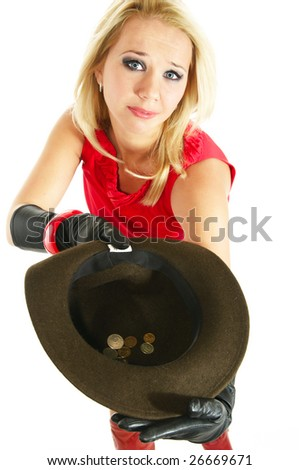 beautiful young lady takes to begging - stock photo