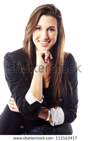 Beautiful young lady wearing blazer and looking confident - stock photo