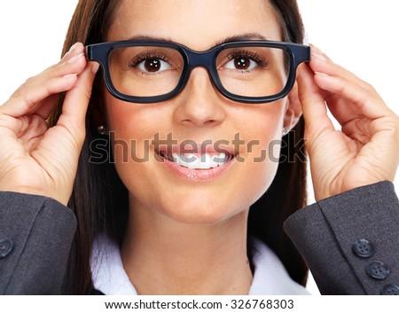 Beautiful young lady wearing eyeglasses close-up. - stock photo