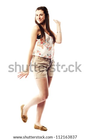 Beautiful young lady with amazing smile in summer clothes - stock photo