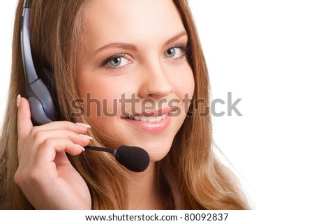 Beautiful young laughing cheerful woman and  headphones with microphone - stock photo