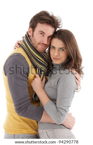 Beautiful young loving couple embracing tenderly, smiling.? - stock photo