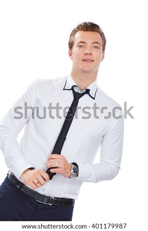 Beautiful young man in formal clothes. Isolated on a white background. - stock photo