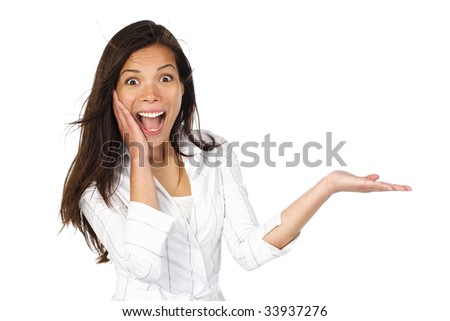 Beautiful young mixed asian / caucasian woman presenting your very exciting product. Isolated on white. - stock photo