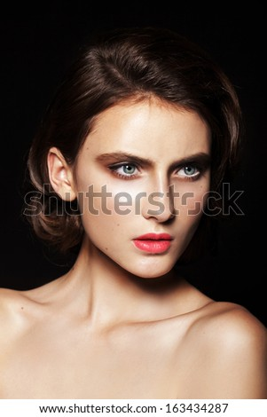 Beautiful young model with bright make up Close up beauty portra - stock photo