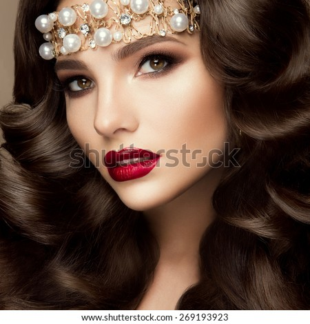 Beautiful young model with red lips  - stock photo