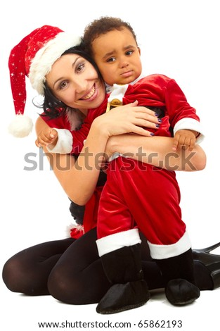 Beautiful  young mother  Santa and her son Santa on white background - stock photo