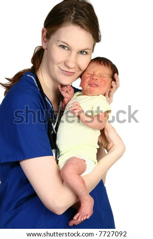 Beautiful young nurse holding a newborn baby over white background. - stock photo
