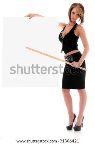Beautiful young sexy woman holding empty white board pointing with a yard stick - stock photo