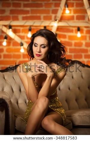 Beautiful young sexy woman like celebrity - stock photo