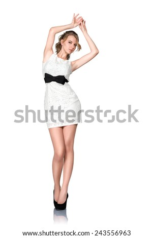 Beautiful young slim woman full body studio portrait isolated on white background - stock photo