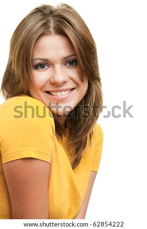 beautiful young smiling woman . Isolated over white. - stock photo