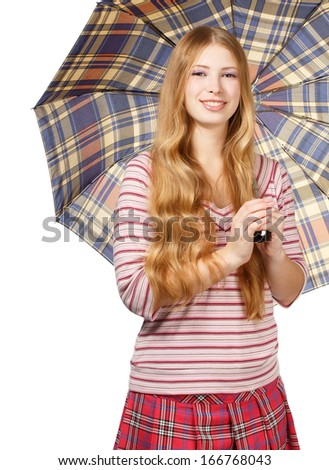 Beautiful young smiling woman with chequered umbrella isolated on white background - stock photo