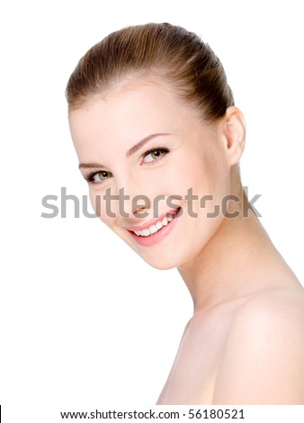 Beautiful young smiling woman with clean fresh face - isolated on white background - stock photo