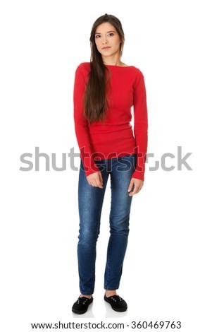 Beautiful young student woman.  - stock photo