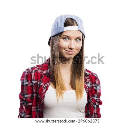 Beautiful young teenage girl. Studio shot on white background - stock photo