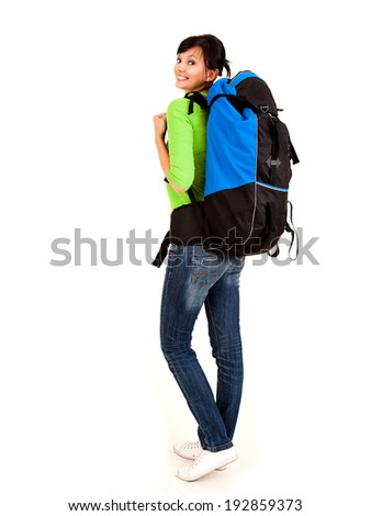 beautiful young tourist woman with backpack, white background - stock photo