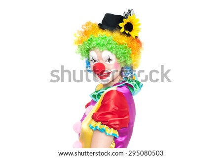 Beautiful young woman as funny clown - colorful portrait - stock photo