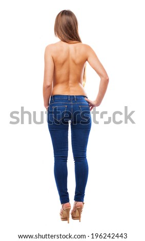 beautiful young woman back on white background - stock photo