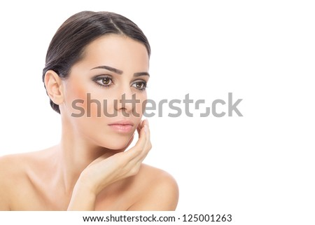 Beautiful young woman closeup isolated on white background - stock photo
