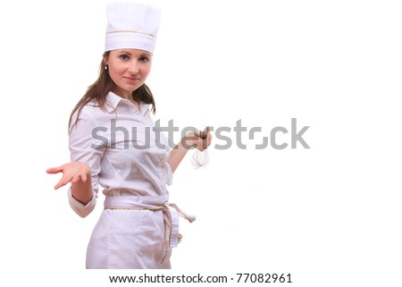 Beautiful young woman cooking isolated white background - stock photo