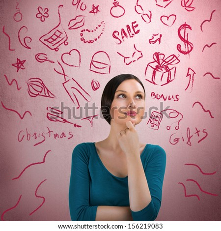 Beautiful young woman daydreaming over pink retro grunge background with finger on chin. Thinking about Christmas gifts - stock photo