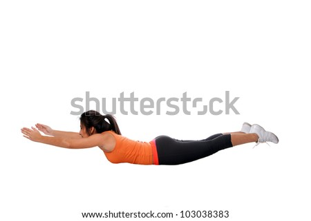 Beautiful young woman doing yoga stretching back fitness exercise, isolated. - stock photo