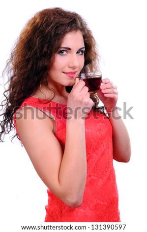 Beautiful Young Woman drinking tea - stock photo