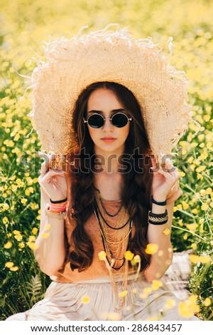 beautiful young woman enjoying the outdoors - stock photo